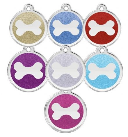 Red Dingo Dog Tag Glitter bone
